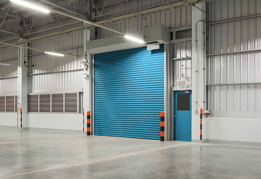 Shutter door or rolling door blue color, night scene.